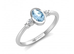 9ct White Gold Diamond And Blue Topaz Ring 0.01 Carats