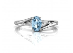 9ct White Gold Diamond And Oval Shaped Blue Topaz Twist Ring 0.01 Carats