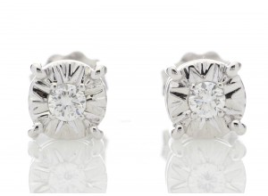 9ct White Gold Single Stone Claw Set Diamond Earring 0.10 Carats