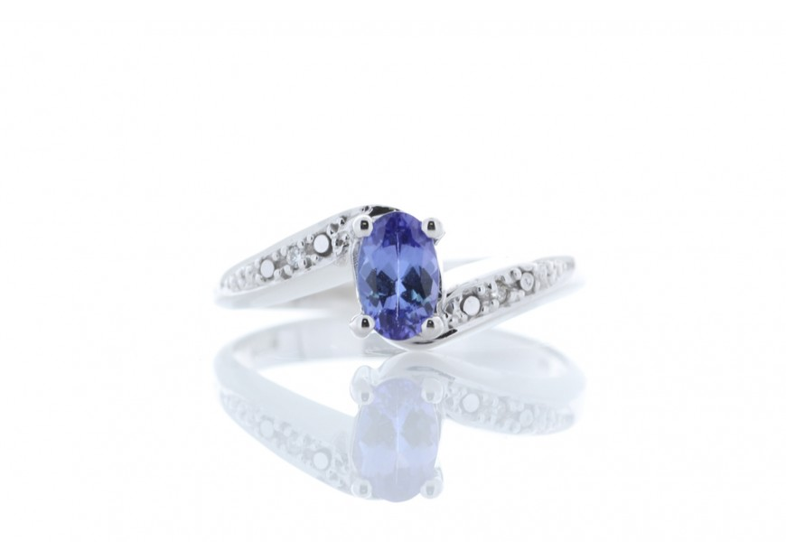 9ct White Gold Diamond And Tanzanite Ring 0 01 Carats