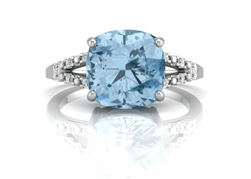 9ct White Gold Diamond And Cushion Cut Blue Topaz Ring 0 06 Carats