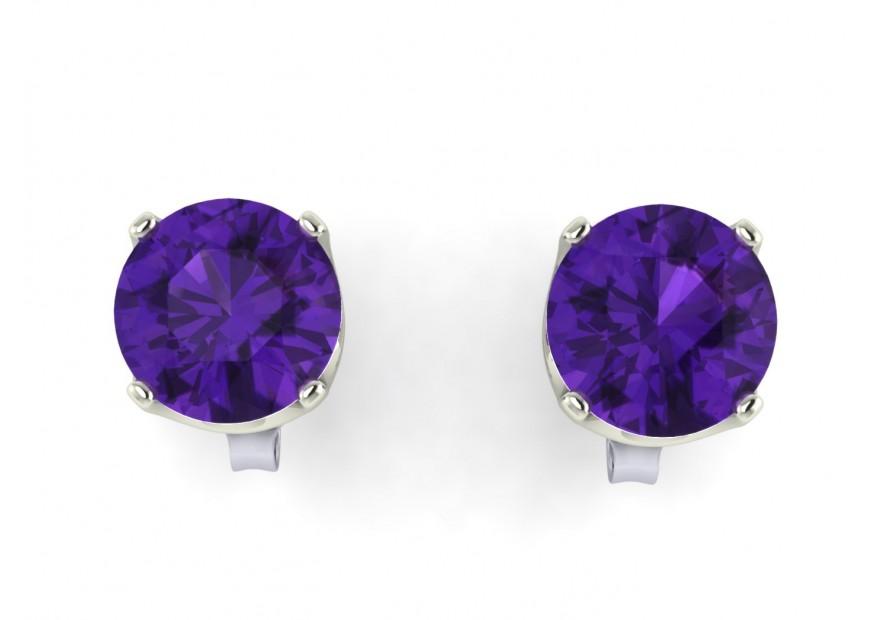 9ct White Gold Amethyst Stud Earrings Precious Jewels Uk