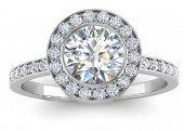 18ct White Gold Diamond Halo Set Engagement Ring 1.00 Carats