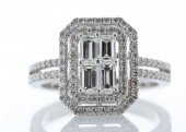 18ct White Gold Emerald Cut Cluster Halo Set Diamond Ring 1.12 Carats