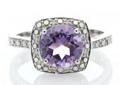 9ct White Gold Amethyst Diamond Ring 0.08 Carats
