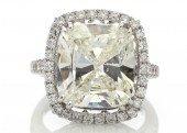 Platinum Single Stone Cushion Cut Engagement Diamond Ring 10.01 Carats