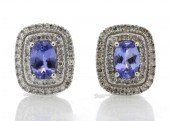 9ct White Gold Oval Diamond And Tanzanite Diamond Earring 0.35 Carats