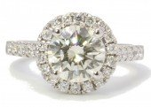 18ct White Gold Single Stone With Halo Setting Diamond Ring 2.17 Carats