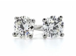 18ct White Gold Single Stone Claw Set Diamond Earring 0.96 Carats
