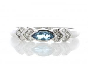 9ct White Gold Blue Topaz Diamond Ring 0.17 Carats