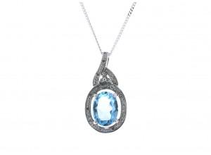 9ct White Gold Diamond And Blue Topaz Pendant 0.05 Carats