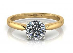 18ct Yellow Gold Single Stone Diamond Engagement Ring F SI 0.25 Carats