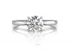 18ct White Gold Single Stone Diamond Engagement Ring F VS 0.90 Carats