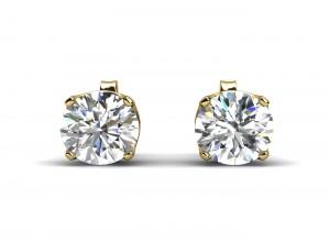 9ct Single Stone Four Claw Set Diamond Earrings H VS 0.20 Carats
