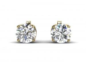 9ct Yellow Gold Single Stone Four Claw Set Diamond Earring H SI 0.25 Carats
