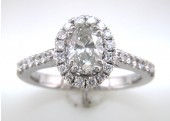 18ct White Gold Diamond Halo Set Engagement Ring 1.22 Carats