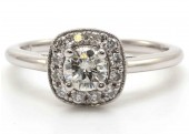 18ct White Gold Single Stone Engagement Diamond Ring Halo Setting 0.69 Carats