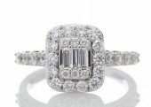 18ct White Gold Diamond Cluster Ring 1.23 Carats