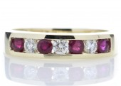 9ct Yellow Gold Channel Set Semi Eternity Diamond And Ruby Ring 0.25