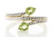 9ct Yellow Gold Peridot Diamond Ring 0.02 Carats