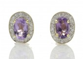 9ct Yellow Gold Amethyst and Diamond Halo Earring 0.18 Carats