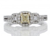 14ct Gold Fancy Yellow Diamond Ring With Fancy Halo Setting 1.00 Carats