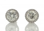 18ct White Gold Single Stone Earrings With Halo Setting 0.65 Carats