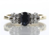 18ct Boat Shape Cluster Claw Set Diamond Saphire Ring 0.50 Carats