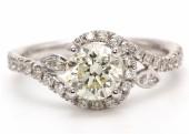 18ct White Gold Diamond Halo Set Engagement Diamond Ring 1.37 Carats