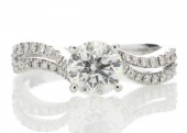 18ct White Gold Solitaire Diamond Ring With  Two Rows Of Shoulder Set Diamonds 1.31 Carats