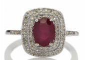 14ct White Gold Oval Ruby And Diamond Cluster Diamond Ring 0.33 Carats