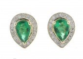 9ct Yellow Gold Diamond And Emerald Earring 0.20 Carats
