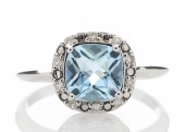 9ct White Gold Ladies Certified Diamond & Blue Topaz Engagement Ring 0.10 Carats