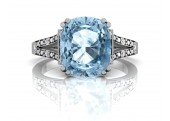 9ct White Gold Diamond And Blue Topaz Engagement Ring 0.07 Carats