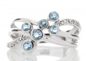 9ct White Gold Fancy Cluster Diamond And Blue Topaz Ring 0.06 Carats