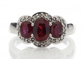 9ct White Gold Diamond And Created Ruby Three Stone Ring