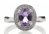 9ct White Gold Diamond and Amethyst Cluster Set Ring
