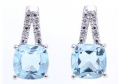 9ct White Gold Diamond And Blue Topaz Drop Earrings 0.05 Carats