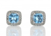 9ct White Gold Blue Topaz Diamond Earring 0.08 Carats
