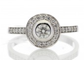 18ct White Gold Diamond Halo Set Engagement Ring 0.50 Carats