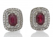 9ct White Gold Oval Diamond And Ruby Cluster Diamond Earring 0.35 Carats