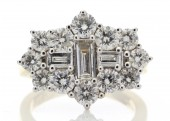18ct White Gold Boat Shape Cluster Diamond Ring 3.00 Carats