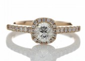 18ct Rose Gold Single Stone With Halo Setting Ring 0.74 Carats