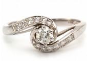 18ct White Gold Single Stone Twist Shoulders Diamond Ring 0.43 Carats