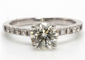 18ct White Gold Round Brilliant Cut Solitaire Engagement Ring 1.25 Carats.
