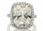 Platinum Single Stone Cushion Cut Engagement Diamond Ring 10.01 Carats