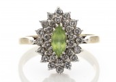 9ct Marquise Cluster Claw Set Diamond Peridot Ring 0.60 Carats