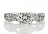 18ct White Gold Single Stone Claw Set Diamond Ring With Stone Set Shoulders 1.32 Carats