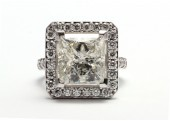 18ct White Gold Princess Cut Single Stone Diamond Halo Engagement Ring J SI2 8.50 Carats