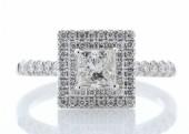 18ct White Gold Princess Cut Halo Set Diamond Ring 0.86 Carats